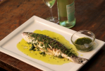 Grilled Branzino with a Parsley Cilantro Vinaigrette