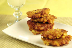 Corn Fritters with Bacon and Goat Cheese