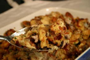 Hallah Bread Stuffing with Mushrooms