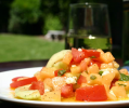 Cantaloupe, Tomato, and Goat  Cheese Salad