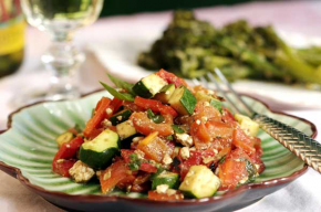 Roasted Red Bell Pepper and Zucchini Salad